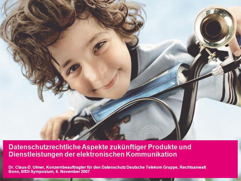 Autor / Thema der Präsentation12.02.20141 Datenschutzrechtliche Aspekte zukünftiger Produkte und Dienstleistungen der elektronischen Kommunikation Dr.