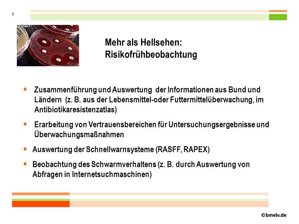 7 Mehr als Hellsehen: Risikofrühbeobachtung Zusammenführung und Auswertung der Informationen aus Bund und Ländern (z.