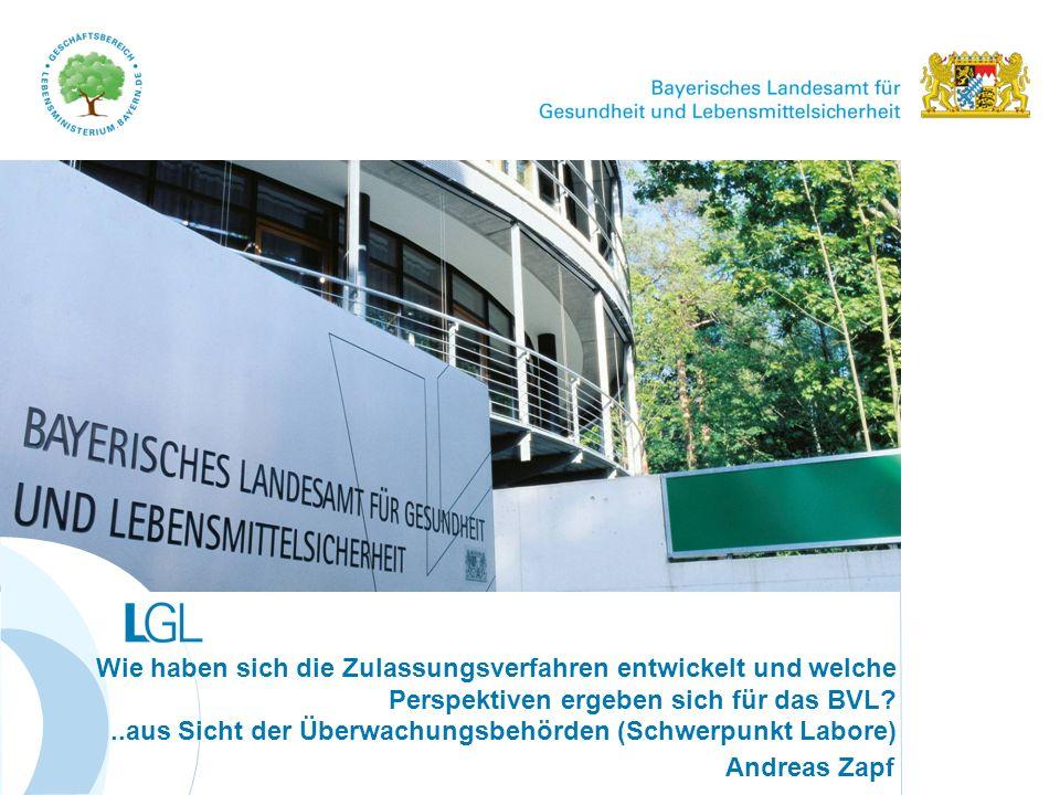 www.lgl.bayern.de Zusammenarbeit BVL – Laboratorien der Länder § 64 LFGB Methodensammlung Zentrale Methodensammlung für die amtliche Überwachung Validierung und Standardisierung von amtlichen Methoden Arbeitsgruppen Paritätische Beteiligung von Industrie, Universität und Überwachung