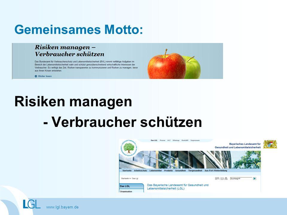 www.lgl.bayern.de Gemeinsames Motto: Risiken managen - Verbraucher schützen