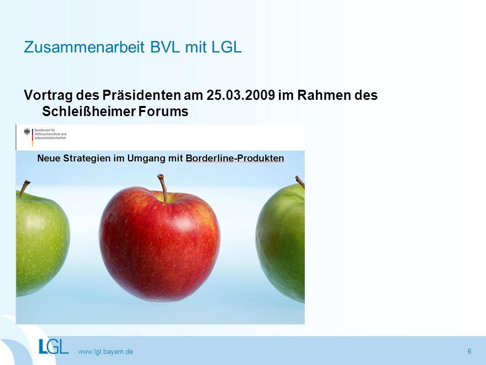 www.lgl.bayern.de Gute Zusammenarbeit der Bundesländer und dem BVL Schnellwarnsysteme (RASFF, RAPEX) Task force EHEC BVL – Kommissionen z.B.