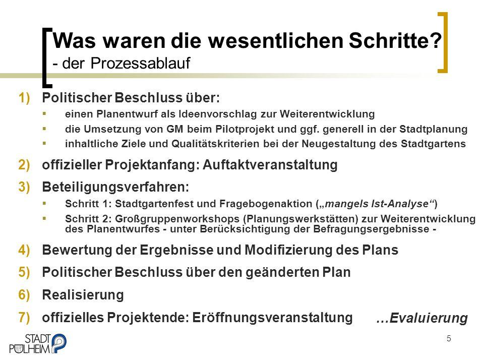 5 Was waren die wesentlichen Schritte? - der Prozessablauf 1)Politischer Beschluss über: einen Planentwurf als Ideenvorschlag zur Weiterentwicklung di