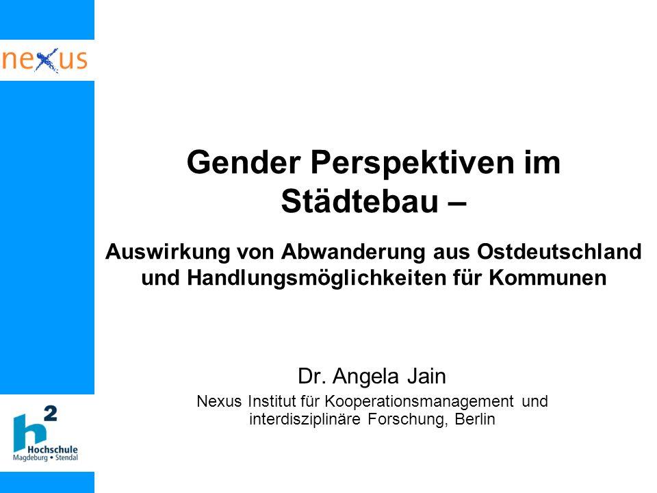 Gender Perspektiven im Städtebau – Auswirkung von Abwanderung aus Ostdeutschland und Handlungsmöglichkeiten für Kommunen Dr. Angela Jain Nexus Institu