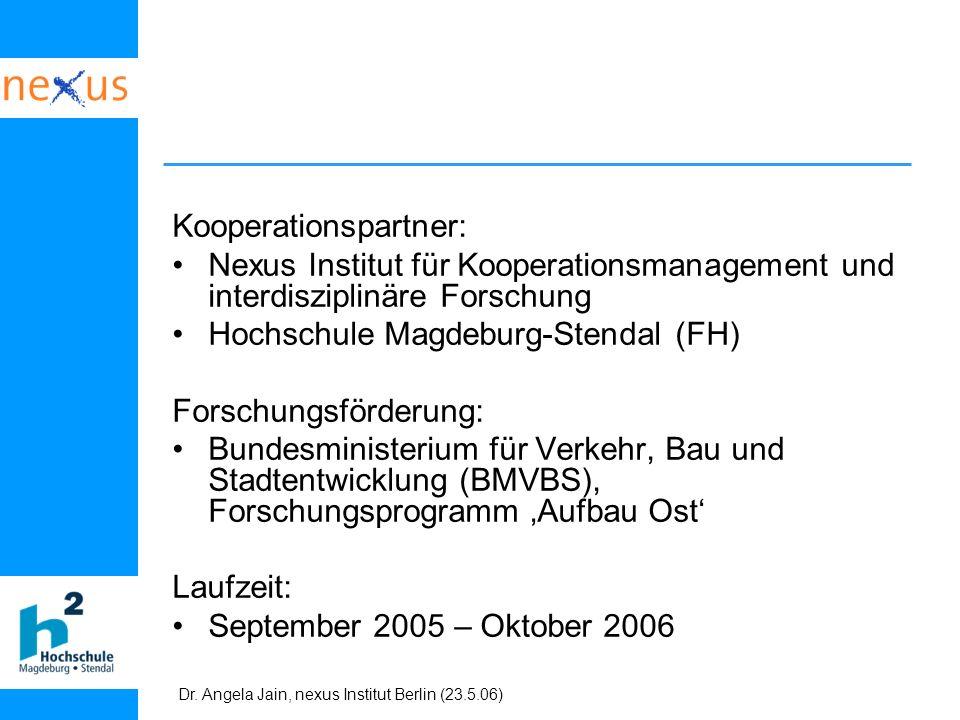 Dr. Angela Jain, nexus Institut Berlin (23.5.06) Kooperationspartner: Nexus Institut für Kooperationsmanagement und interdisziplinäre Forschung Hochsc