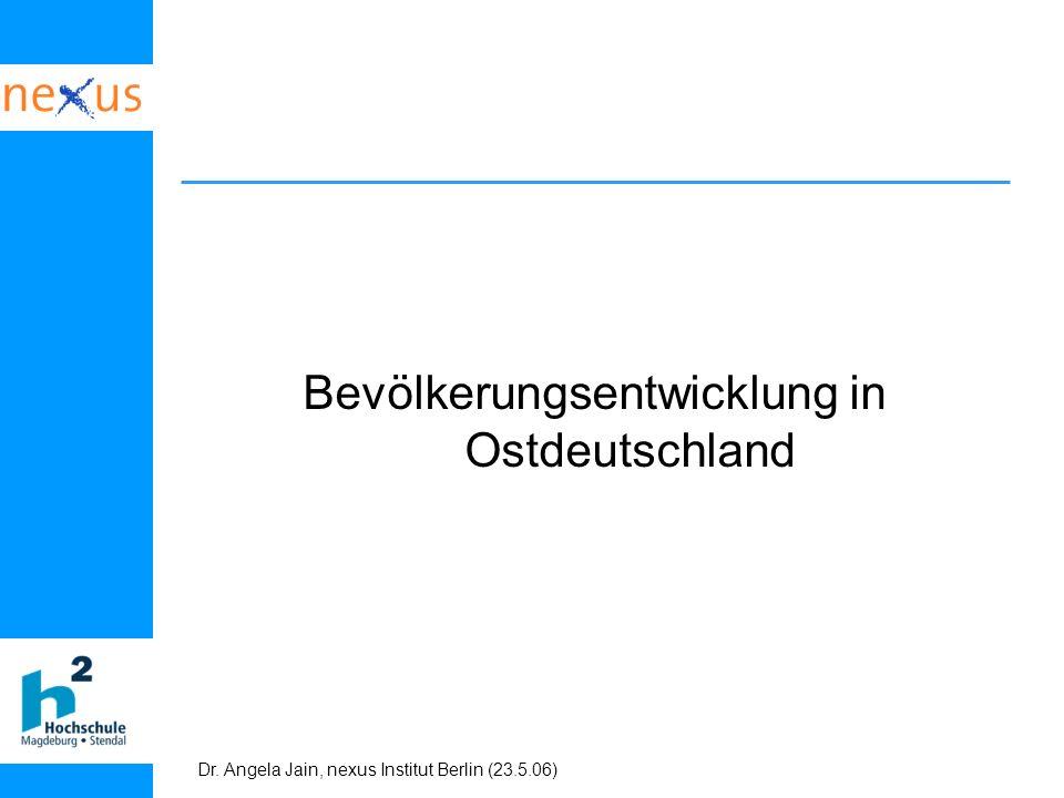 Dr. Angela Jain, nexus Institut Berlin (23.5.06) Bevölkerungsentwicklung in Ostdeutschland