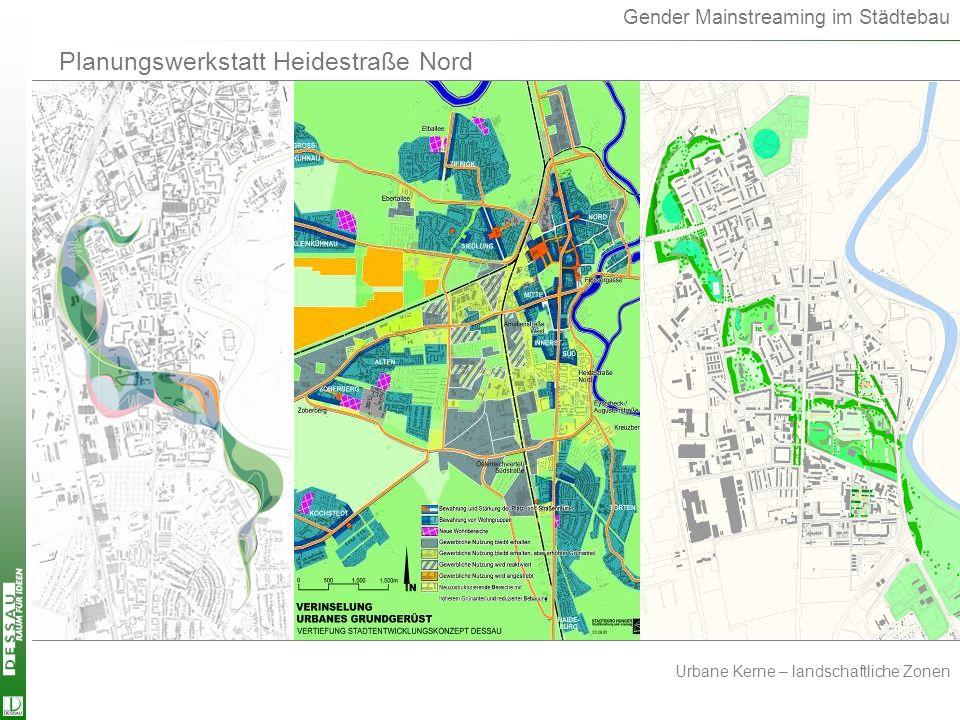 Gender Mainstreaming im Städtebau Urbane Kerne – landschaftliche Zonen Planungswerkstatt Heidestraße Nord Urb.Kerne-landsch.Zonen