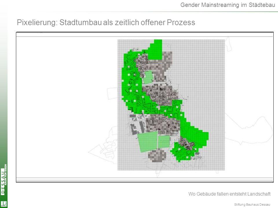 Gender Mainstreaming im Städtebau Pixelierung: Stadtumbau als zeitlich offener Prozess Wo Gebäude fallen entsteht Landschaft Stiftung Bauhaus Dessau P