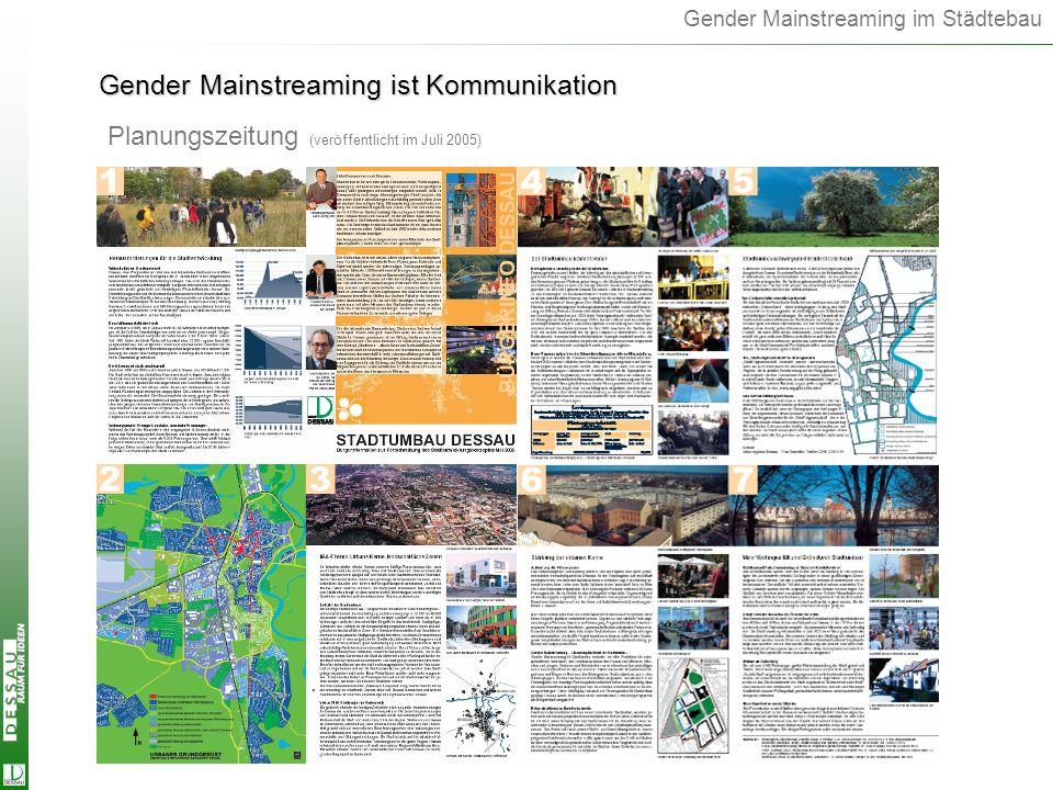 Gender Mainstreaming im Städtebau Planungszeitung (veröffentlicht im Juli 2005) Gender Mainstreaming ist Kommunikation