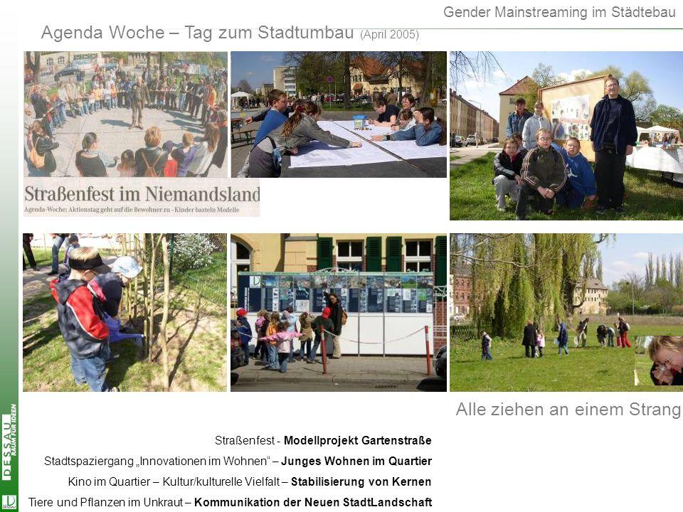 Gender Mainstreaming im Städtebau Agenda Woche – Tag zum Stadtumbau (April 2005) Agenda Woche Alle ziehen an einem Strang Straßenfest - Modellprojekt