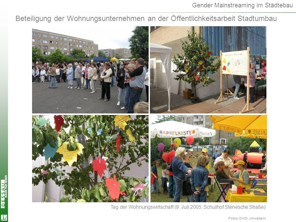 Gender Mainstreaming im Städtebau Beteiligung der Wohnungsunternehmen an der Öffentlichkeitsarbeit Stadtumbau Fotos: DWG, Umweltamt Tag der Wohnungswi