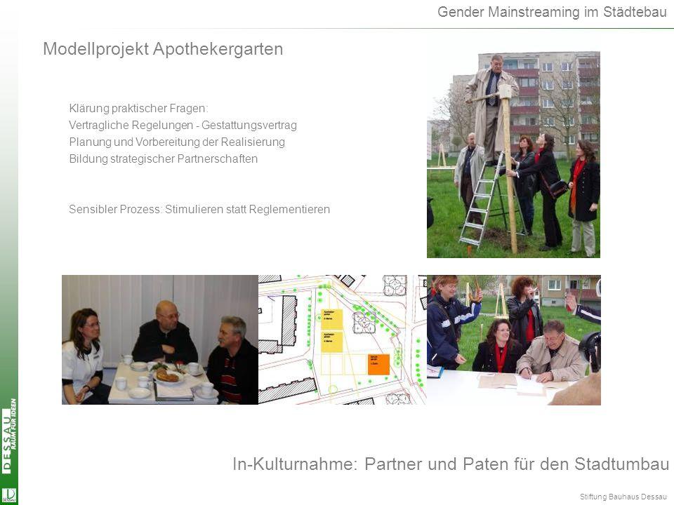 Gender Mainstreaming im Städtebau In-Kulturnahme: Partner und Paten für den Stadtumbau Modellprojekt Apothekergarten Klärung praktischer Fragen: Vertr