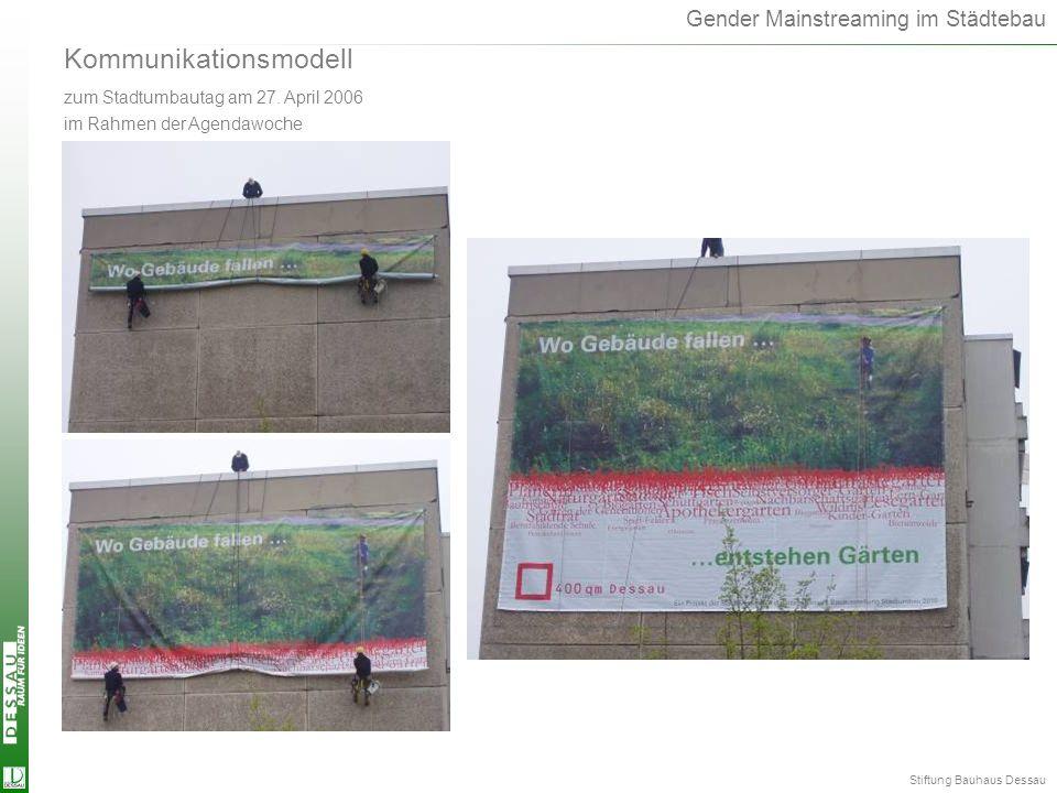 Gender Mainstreaming im Städtebau Kommunikationsmodell zum Stadtumbautag am 27. April 2006 im Rahmen der Agendawoche Kommunikationsmodell Stiftung Bau