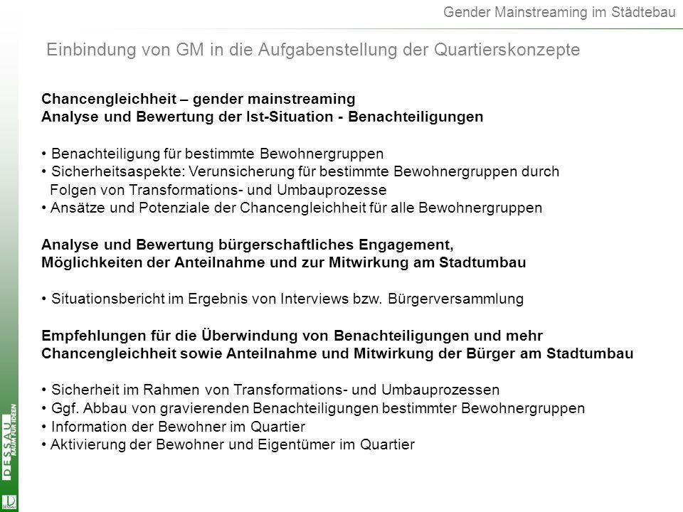 Gender Mainstreaming im Städtebau Einbindung von GM in die Aufgabenstellung der Quartierskonzepte Chancengleichheit – gender mainstreaming Analyse und