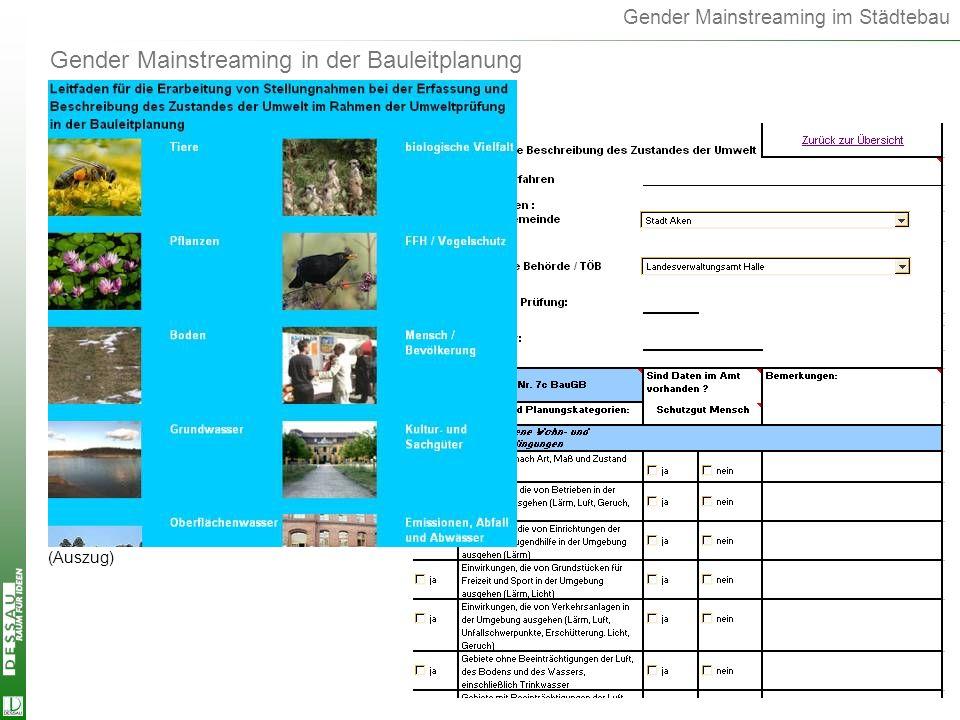 Gender Mainstreaming im Städtebau Gender Mainstreaming in der Bauleitplanung (Auszug)