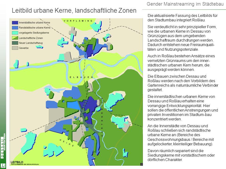 Gender Mainstreaming im Städtebau Leitbild urbane Kerne, landschaftliche Zonen Die aktualisierte Fassung des Leitbilds für den Stadtumbau integriert R
