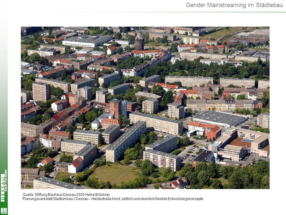 Gender Mainstreaming im Städtebau Quelle: Stiftung Bauhaus Dessau 2005 Heike Brückner Planungswerkstatt Stadtumbau // Dessau - Heidestraße Nord, zeitl