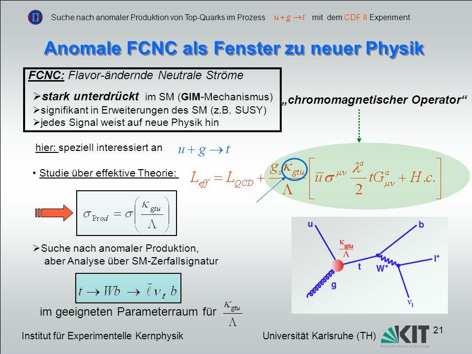 21 Suche nach anomaler Produktion von Top-Quarks im Prozess mit dem CDF II Experiment Anomale FCNC als Fenster zu neuer Physik FCNC: Flavor-ändernde Neutrale Ströme stark unterdrückt im SM (GIM-Mechanismus) signifikant in Erweiterungen des SM (z.B.