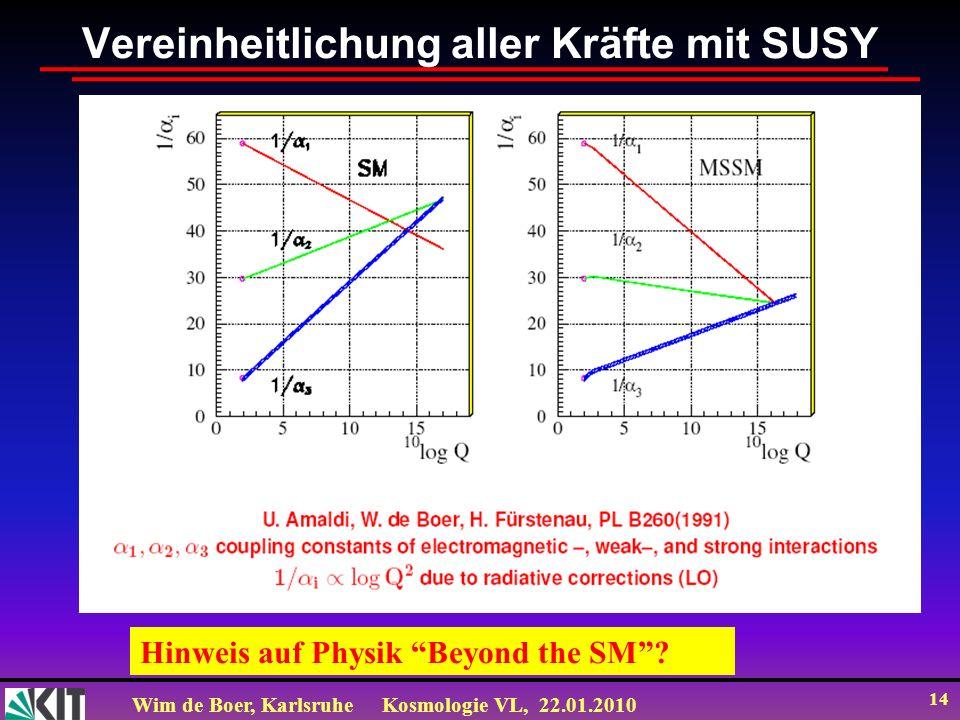 Wim de Boer, KarlsruheKosmologie VL, 22.01.2010 14 Vereinheitlichung aller Kräfte mit SUSY Hinweis auf Physik Beyond the SM?