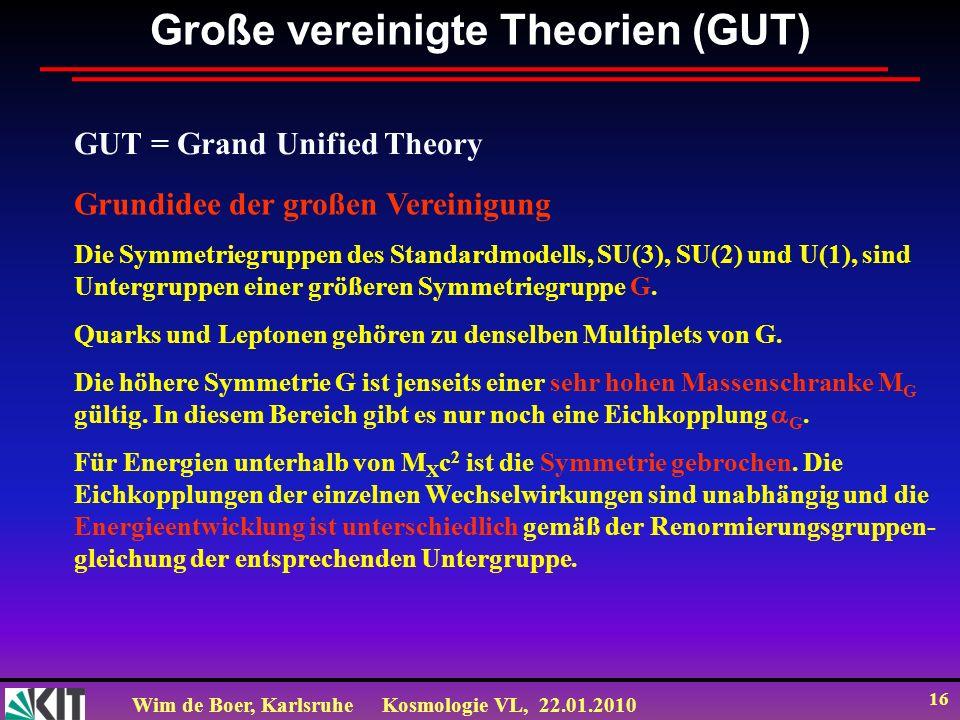 Wim de Boer, KarlsruheKosmologie VL, 22.01.2010 16 Große vereinigte Theorien (GUT) GUT = Grand Unified Theory Grundidee der großen Vereinigung Die Sym