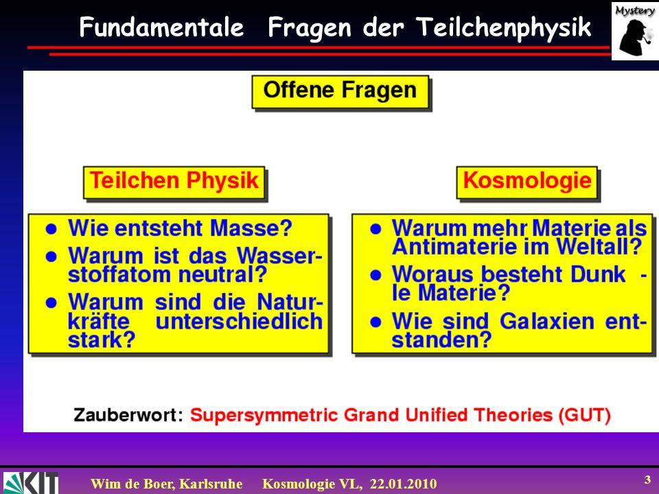 Wim de Boer, KarlsruheKosmologie VL, 22.01.2010 34 Annihilationswirkungsquerschnitt in SUSY Egret: WIMP 50-100 GeV WMAP: =2.10 -26 cm 3 /s f f f f f f Z Z W W 0 f ~ A Z Spin ½ Teilchen leicht (0.1 TeV) Spin 0 Teilchen schwer (TeV) Neutralino Annihilations-Wirkungsquerschnitt wie erwartet für thermal relic (from H and ).