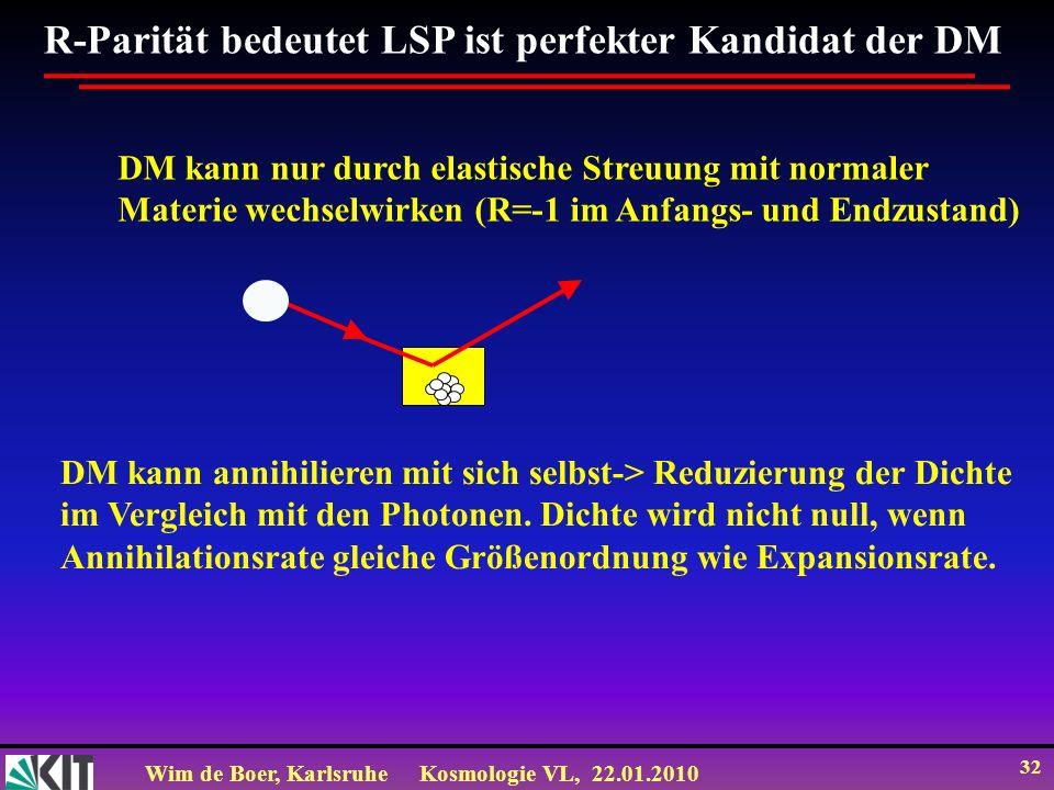 Wim de Boer, KarlsruheKosmologie VL, 22.01.2010 32 R-Parität bedeutet LSP ist perfekter Kandidat der DM DM kann nur durch elastische Streuung mit norm