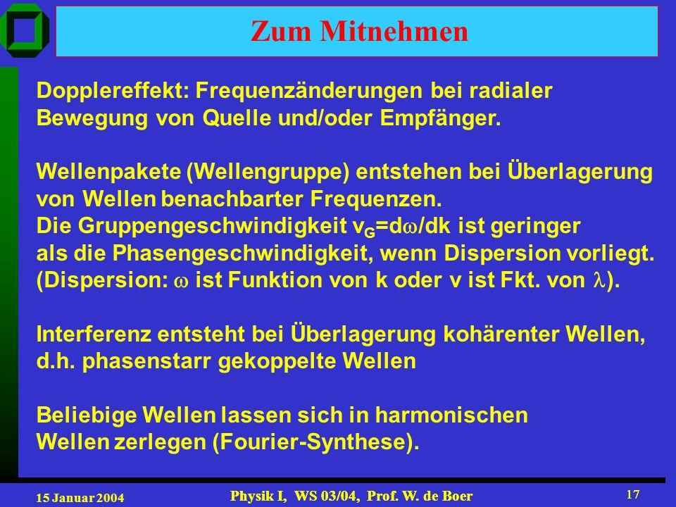 15 Januar 2004 Physik I, WS 03/04, Prof. W. de Boer 17 Physik I, WS 03/04, Prof. W. de Boer 17 Zum Mitnehmen Dopplereffekt: Frequenzänderungen bei rad