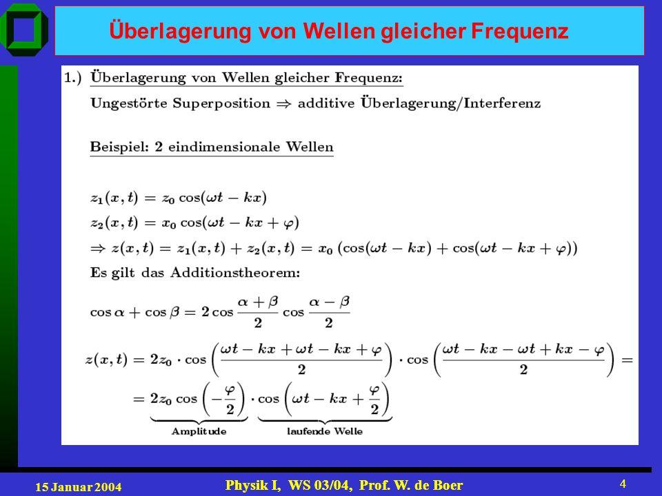 15 Januar 2004 Physik I, WS 03/04, Prof. W. de Boer 5 5 Überlagerung von Wellen gleicher Frequenz