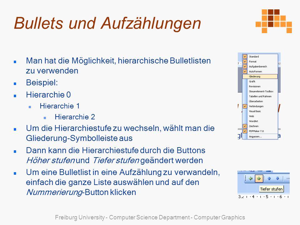 Freiburg University - Computer Science Department - Computer Graphics Bullets und Aufzählungen Man hat die Möglichkeit, hierarchische Bulletlisten zu verwenden Beispiel: Hierarchie 0 Hierarchie 1 Hierarchie 2 Um die Hierarchiestufe zu wechseln, wählt man die Gliederung-Symbolleiste aus Dann kann die Hierarchiestufe durch die Buttons Höher stufen und Tiefer stufen geändert werden Um eine Bulletlist in eine Aufzählung zu verwandeln, einfach die ganze Liste auswählen und auf den Nummerierung-Button klicken