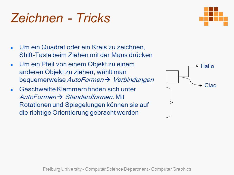 Freiburg University - Computer Science Department - Computer Graphics Zeichnen - Tricks Um ein Quadrat oder ein Kreis zu zeichnen, Shift-Taste beim Ziehen mit der Maus drücken Um ein Pfeil von einem Objekt zu einem anderen Objekt zu ziehen, wählt man bequemerweise AutoFormen Verbindungen Geschweifte Klammern finden sich unter AutoFormen Standardformen.
