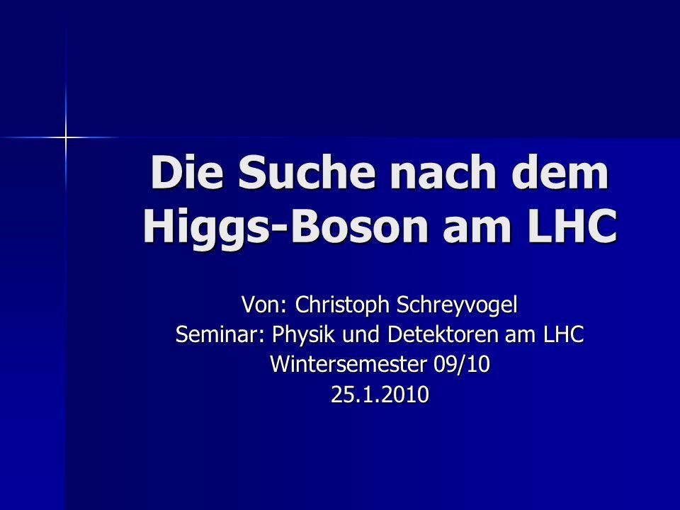 Übersicht Die Lagrangedichte in der Eichtheorie Die Lagrangedichte in der Eichtheorie - globale und lokale Eichinvarianz der Lagrangedichte - Theorie der masselosen Eichbosonen Der Higgs-Mechanismus Der Higgs-Mechanismus - Masse von W ± und Z O -Bosonen durch spontane Symmetriebrechung Die Suche nach dem Higgs-Boson am LEP, Tevatron und LHC Die Suche nach dem Higgs-Boson am LEP, Tevatron und LHC - Eigenschaften des Higgs-Bosons - Produktion und Zerfall des Higgs-Bosons am LHC - Detektion am LHC