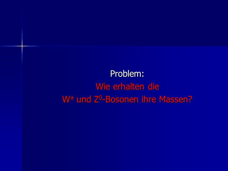 Problem: Wie erhalten die W ± und Z 0 -Bosonen ihre Massen?