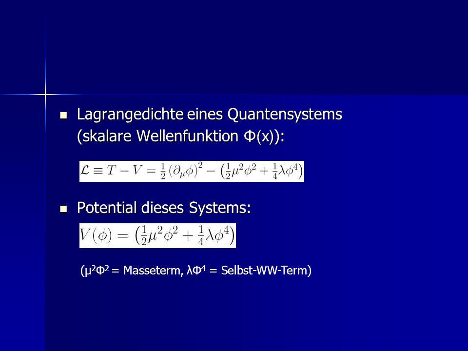 Lagrangedichte eines Quantensystems Lagrangedichte eines Quantensystems (skalare Wellenfunktion Φ(x) ): Potential dieses Systems: Potential dieses Sys