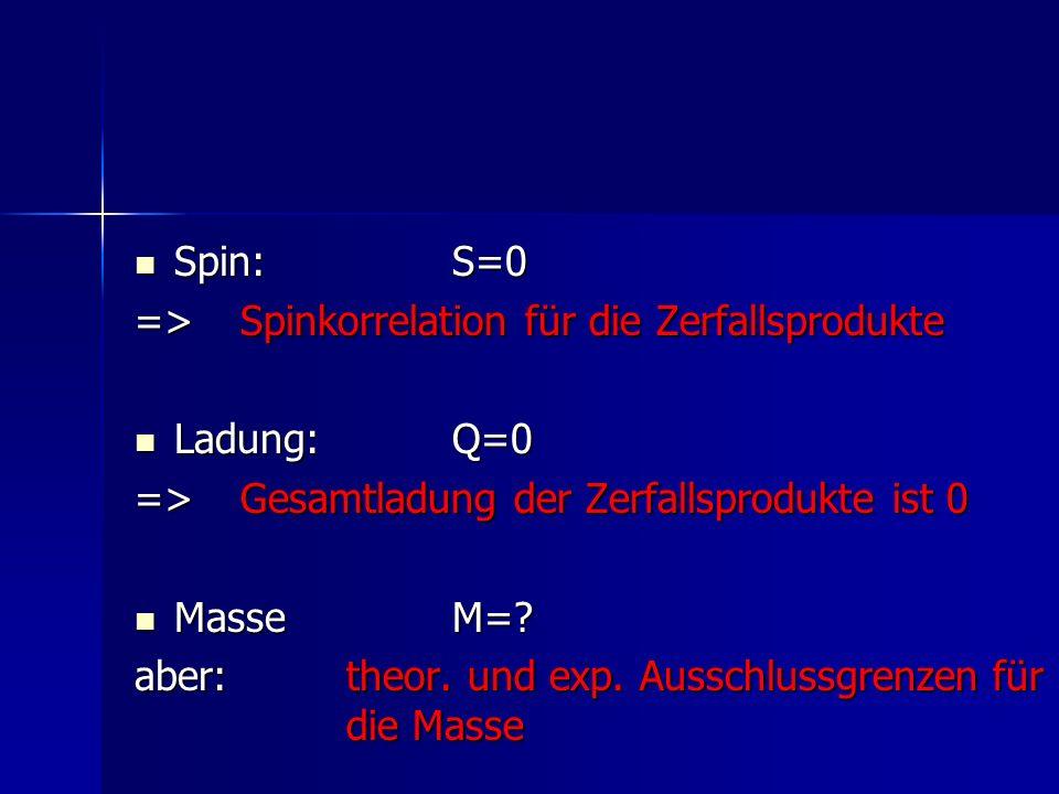 Spin:S=0 Spin:S=0 => Spinkorrelation für die Zerfallsprodukte Ladung:Q=0 Ladung:Q=0 =>Gesamtladung der Zerfallsprodukte ist 0 Masse M=? Masse M=? aber