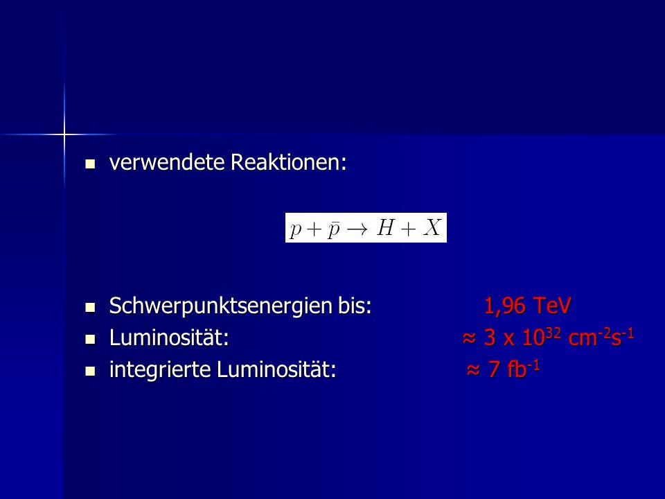 verwendete Reaktionen: verwendete Reaktionen: Schwerpunktsenergien bis:1,96 TeV Schwerpunktsenergien bis:1,96 TeV Luminosität: 3 x 10 32 cm -2 s -1 Lu