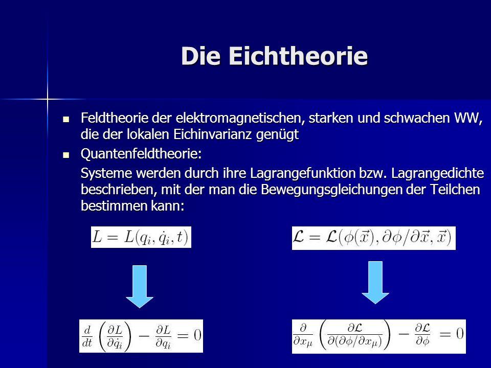 Die Eichtheorie Feldtheorie der elektromagnetischen, starken und schwachen WW, die der lokalen Eichinvarianz genügt Feldtheorie der elektromagnetische