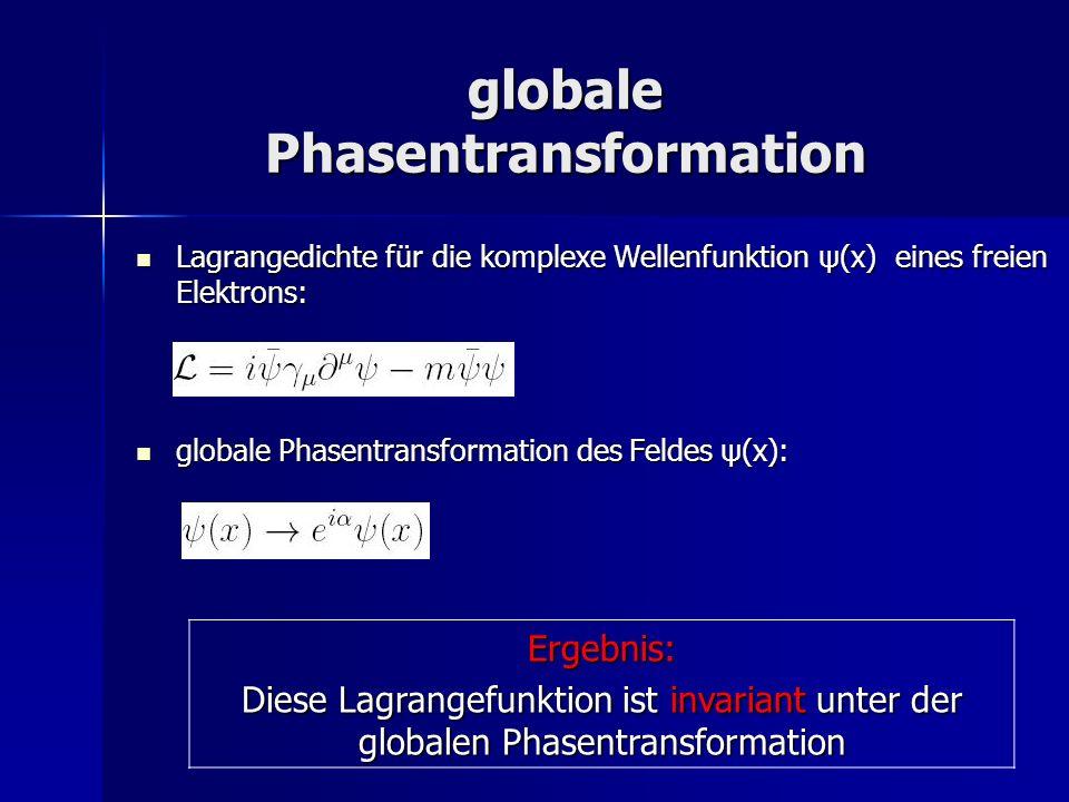 lokale Phasentransformation Lagrangedichte für die komplexe Wellenfunktion ψ(x) eines freien Elektrons: Lagrangedichte für die komplexe Wellenfunktion ψ(x) eines freien Elektrons: lokale Phasentransformation des Feldes ψ(x): lokale Phasentransformation des Feldes ψ(x):Ergebnis: Diese Lagrangedichte ist nicht invariant unter der lokalen Phasentransformation