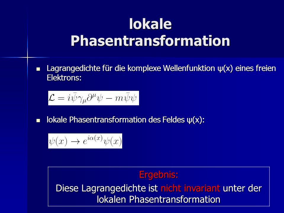 Modifizierung der Lagrangedichte durch Einführung von: Modifizierung der Lagrangedichte durch Einführung von: kovariante Ableitung Vektorfeld FeldstärketensorErgebnis: Diese Lagrangedichte ist invariant unter der lokalen Phasentransformation