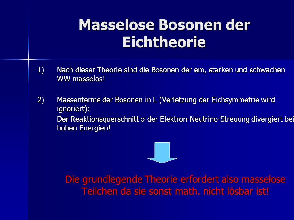 Masselose Bosonen der Eichtheorie 1)Nach dieser Theorie sind die Bosonen der em, starken und schwachen WW masselos! 2) Massenterme der Bosonen in L (V