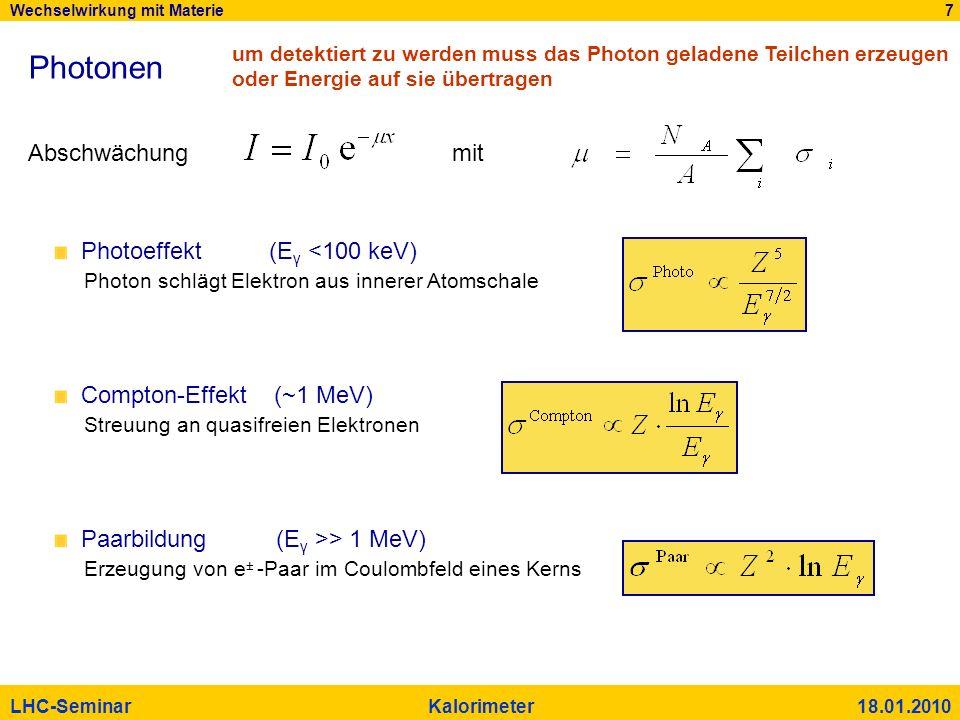 Wechselwirkung mit Materie 7 LHC-Seminar Kalorimeter 18.01.2010 Photonen Photoeffekt (E γ <100 keV) Photon schlägt Elektron aus innerer Atomschale Com