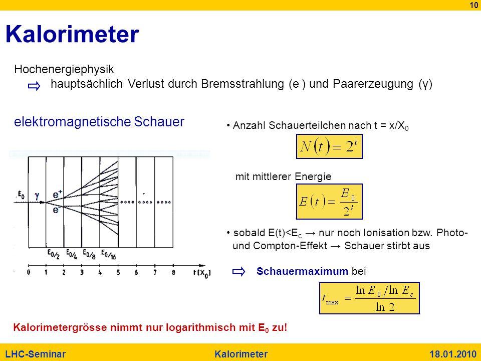 10 LHC-Seminar Kalorimeter 18.01.2010 Kalorimeter Hochenergiephysik hauptsächlich Verlust durch Bremsstrahlung (e - ) und Paarerzeugung (γ) elektromag