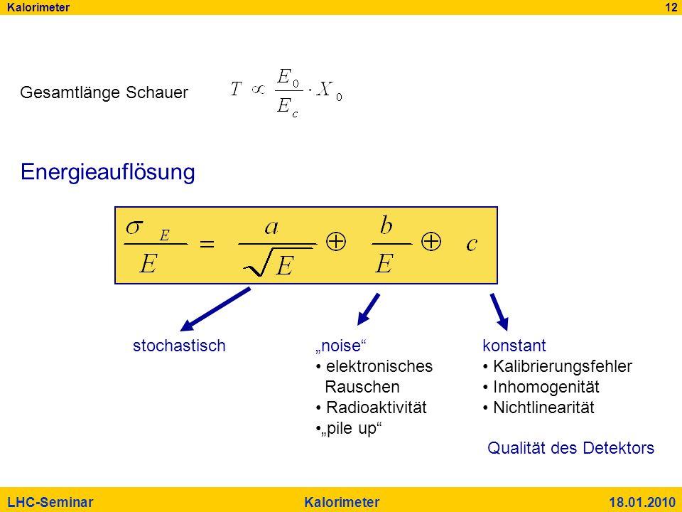 Kalorimeter 12 LHC-Seminar Kalorimeter 18.01.2010 Gesamtlänge Schauer Energieauflösung stochastischnoise elektronisches Rauschen Radioaktivität pile u