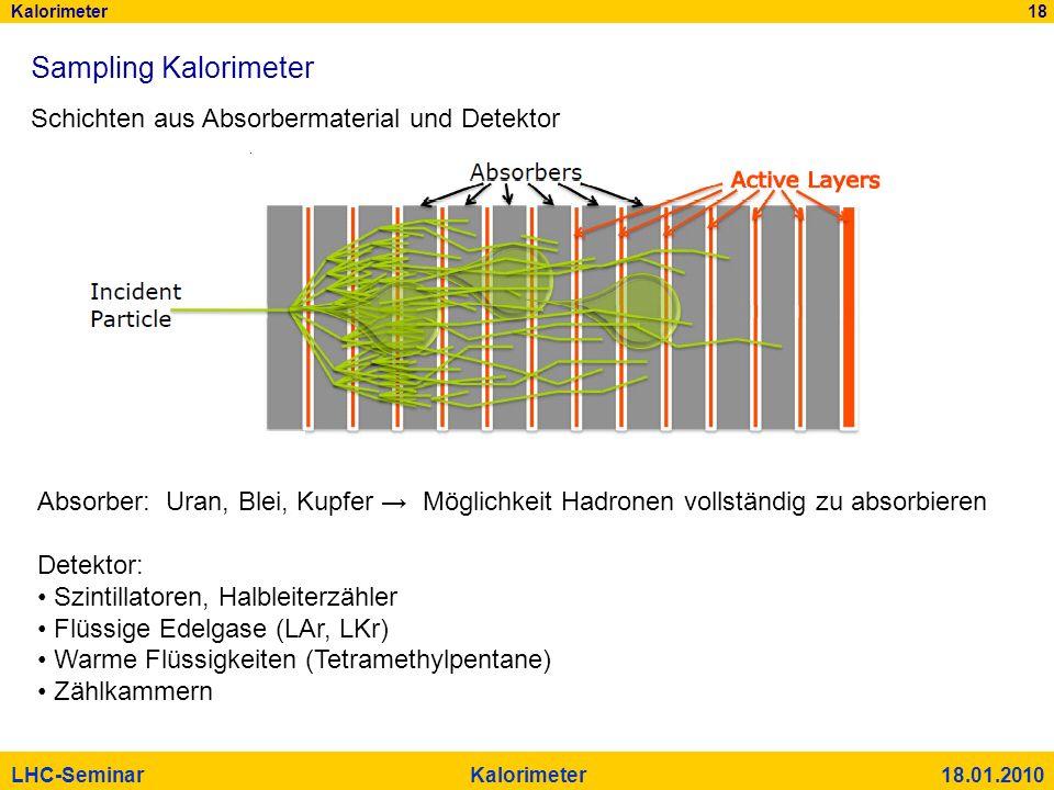 Kalorimeter 18 LHC-Seminar Kalorimeter 18.01.2010 Sampling Kalorimeter Schichten aus Absorbermaterial und Detektor Absorber: Uran, Blei, Kupfer Möglic