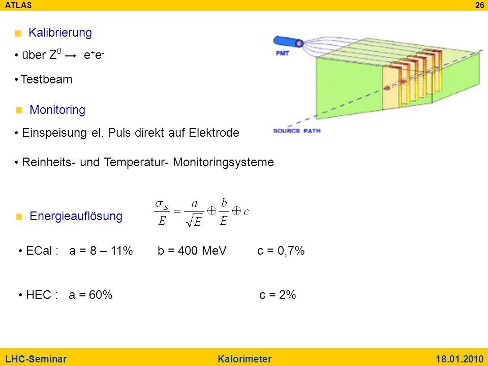 ATLAS 26 LHC-Seminar Kalorimeter 18.01.2010 Monitoring Energieauflösung Einspeisung el. Puls direkt auf Elektrode Reinheits- und Temperatur- Monitorin