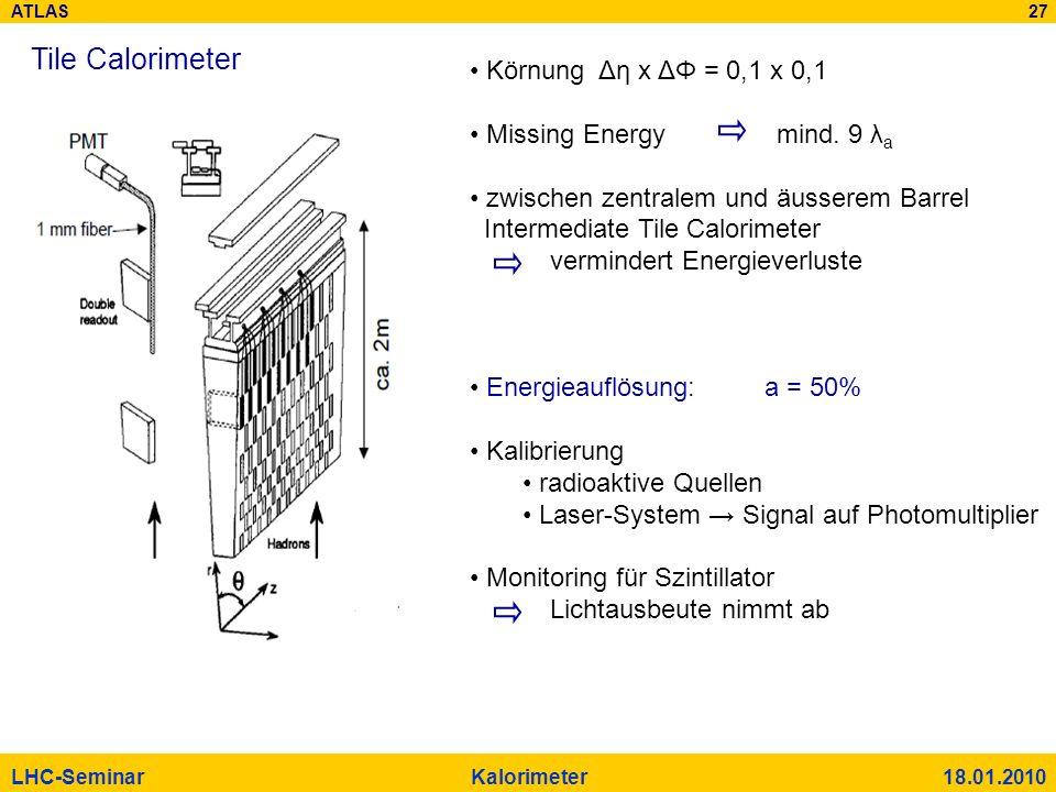 ATLAS 27 LHC-Seminar Kalorimeter 18.01.2010 Tile Calorimeter Körnung Δη x ΔΦ = 0,1 x 0,1 Missing Energy mind. 9 λ a zwischen zentralem und äusserem Ba
