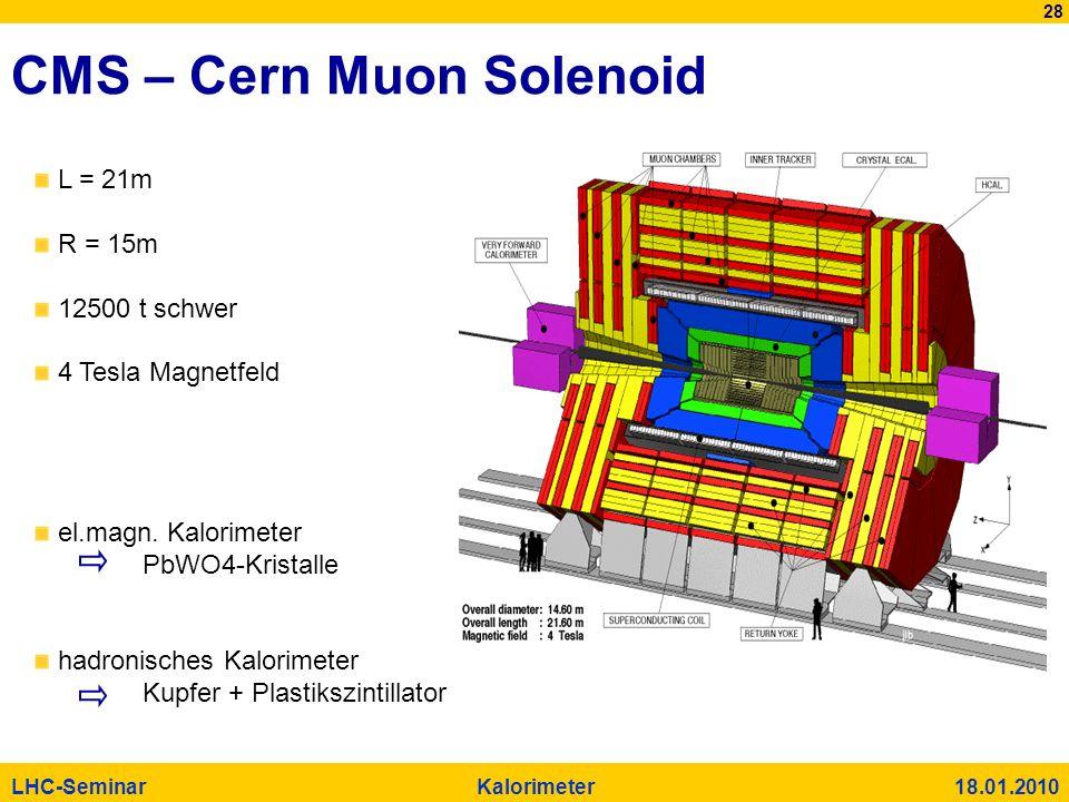 28 LHC-Seminar Kalorimeter 18.01.2010 CMS – Cern Muon Solenoid L = 21m R = 15m 12500 t schwer 4 Tesla Magnetfeld el.magn. Kalorimeter PbWO4-Kristalle
