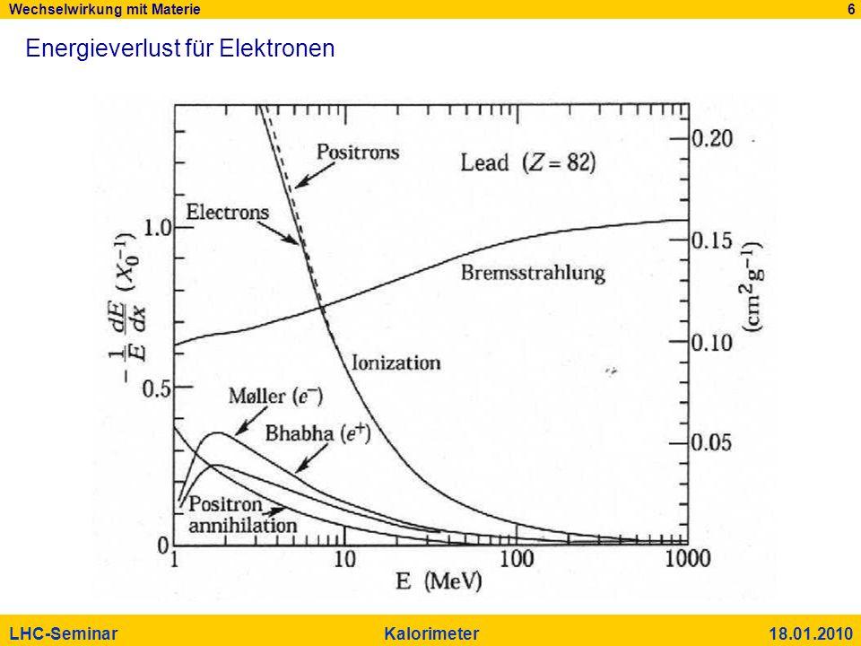 Wechselwirkung mit Materie 6 LHC-Seminar Kalorimeter 18.01.2010 Energieverlust für Elektronen