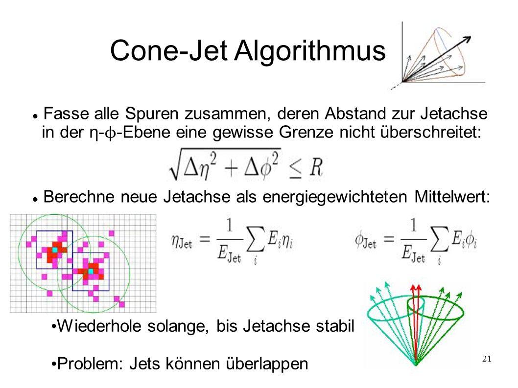 21 Cone-Jet Algorithmus Berechne neue Jetachse als energiegewichteten Mittelwert: Fasse alle Spuren zusammen, deren Abstand zur Jetachse in der η- ϕ -