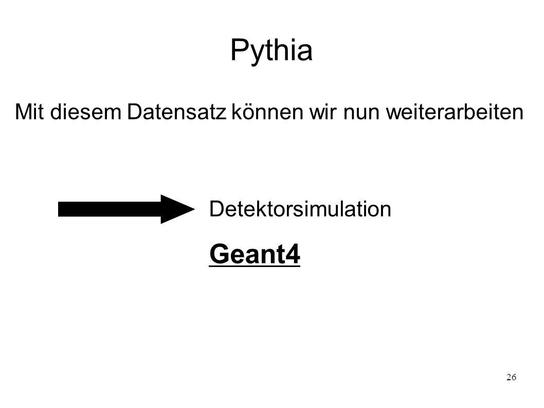 26 Pythia Mit diesem Datensatz können wir nun weiterarbeiten Detektorsimulation Geant4