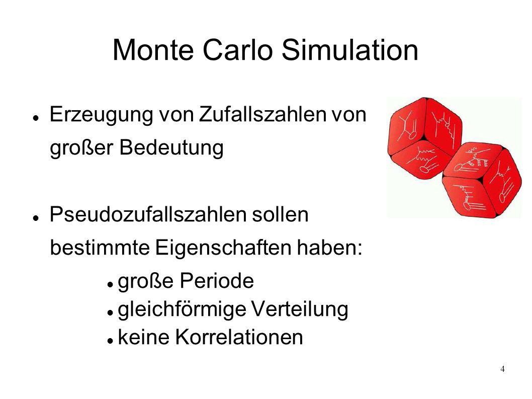 5 Monte Carlo Simulation Einfachste Möglichkeit Pseudozufallszahlen zu generieren: linear kongruenter Generator a, c, m: 3 ganzzahlige Konstanten I 0 : Saat