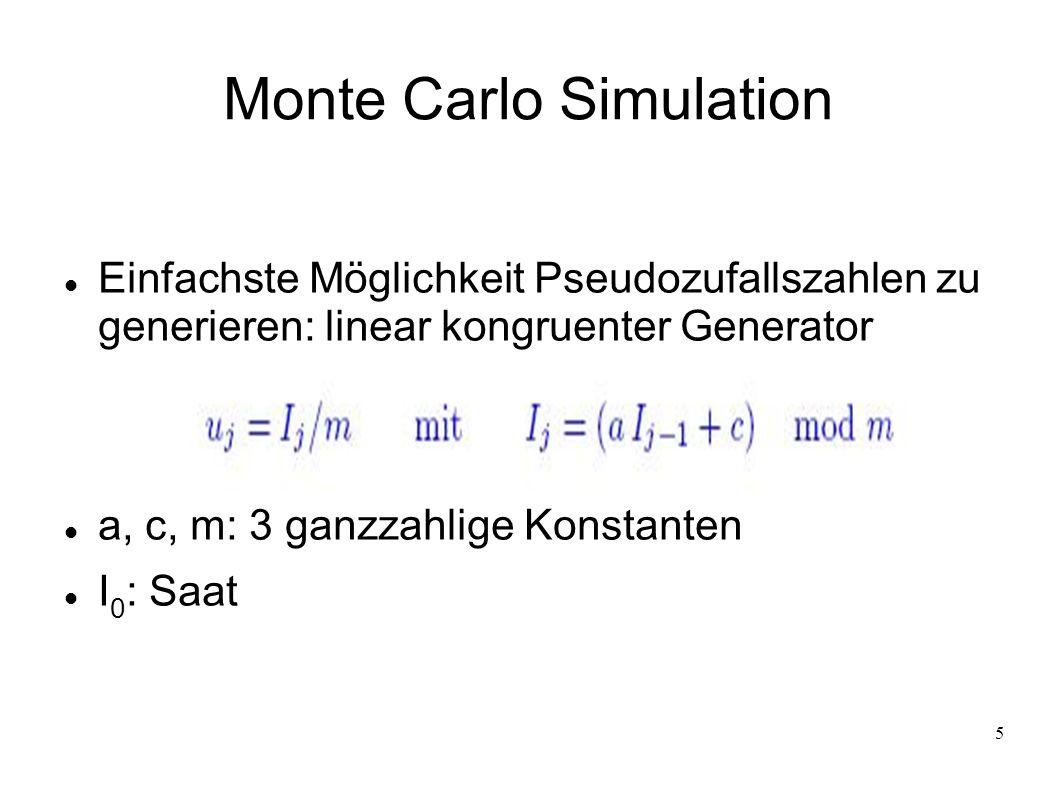 5 Monte Carlo Simulation Einfachste Möglichkeit Pseudozufallszahlen zu generieren: linear kongruenter Generator a, c, m: 3 ganzzahlige Konstanten I 0